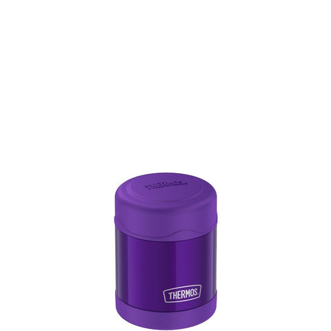 thermos funtainer stainless steel food jar 10oz violet keeps food warm (5 hours) and cold (9 hours). bpa free