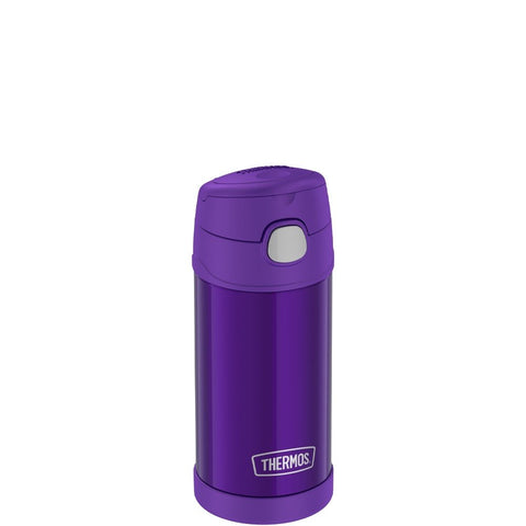 thermos funtainer stainless steel water bottle with straw 12oz violet is vacuum insulated to keep  cool for up to ten hours