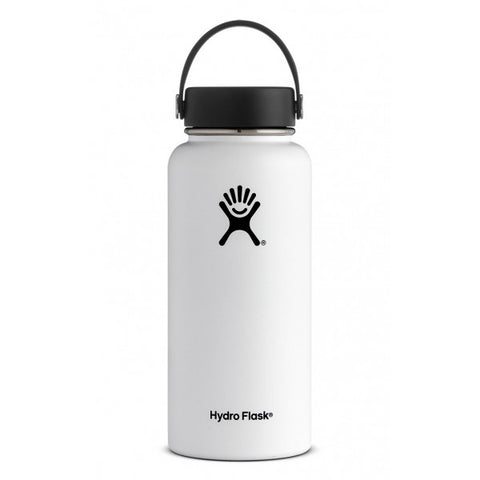 Hydro flask white 32 oz wide mouth bottle keeps liquids cold for up to 24 hours and hot up to 12. BPA-free