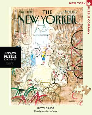 New York Puzzle Companys 1,000 piece jigsaw puzzle of the New Yorker cover Bicycle Shop. Made in the USA