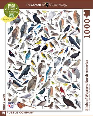 New York Puzzle Company's 1,000 piece jigsaw puzzle birds of western america, cornell lab of ornithology. made in the USA