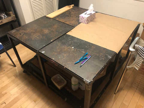 metal work table on wheels with smaller insert table