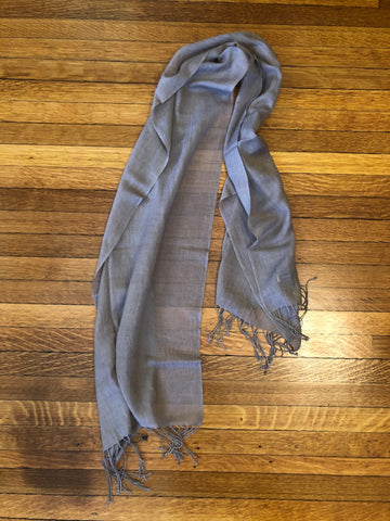 100% grey merino wool scarf