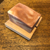 "red pine soap dish 3 1/2"" x 3 1/4""  hand crafted in japan - with soap"