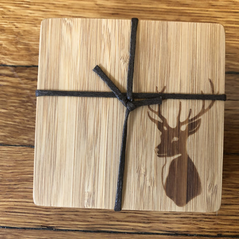 bambu bamboo coaster set of 4 - stag