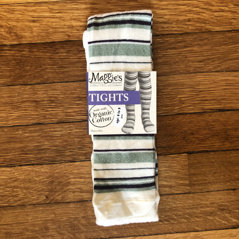 maggie's organics organic cotton tights, youth, striped