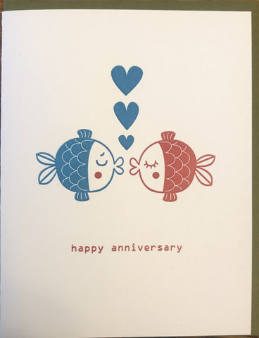 anniversary fish 7 fugu fugu press letterpress card printed on recycled paper. inside of the card is blank. made in the usa
