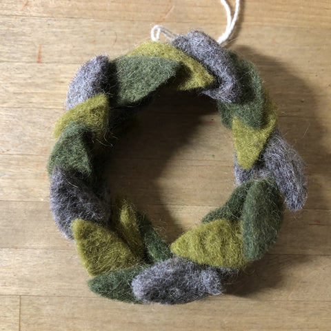 felted wool green leaf wreath ornament