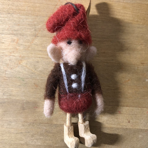 wooly elf, brown shirt felted wool ornament