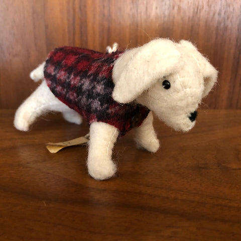 dapper dog felted wool ornament