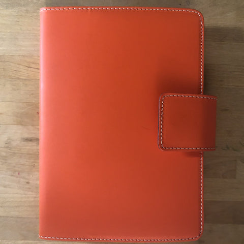 fiorentina recycled leather journal, orange