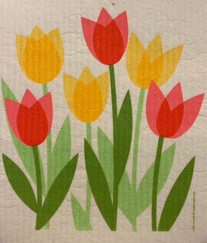 tulip fieldswedish dishcloth:  biodegradable & compostable dishcloth made of 70% cellulose/30% cotton & water-based inks