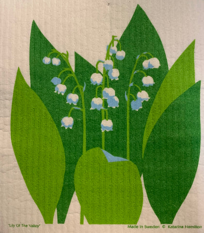 lily of the valley swedish dishcloth:  biodegradable & compostable dishcloth made of 70% cellulose/30% cotton & water-based inks