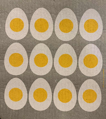 eggs swedish dishcloth:  biodegradable & compostable dishcloth made of 70% cellulose/30% cotton & water-based inks