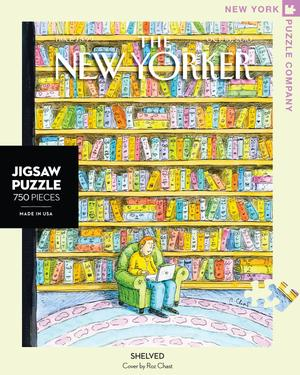 New York Puzzle Company's 750 piece jigsaw puzzle of the New Yorker cover Shelved. Made in the USA