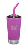 klean kanteen berry bright 16oz insulated tumber comes with a straw lid