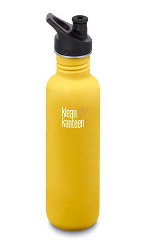 klean kanteen 27 oz lemon curry standard mouth water bottle. bpa & bps free.