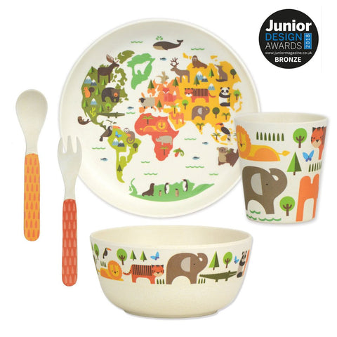 petit collage world 5-piece bamboo dinnerware set (plate, bowl, cup, spoon, fork). BPA-free, PVC-free, and phthalate-free