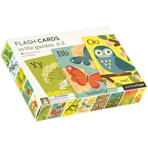 petit collage in the garden flash cards feature ABCs, words, graphic images. for image recognition & alphabet learning