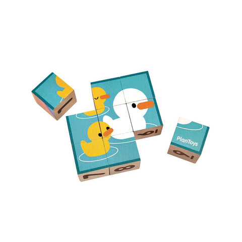 plan toys puzzle cubes are blocks with 4 sided illustrations including numbers & counting dots. kids can learn number order