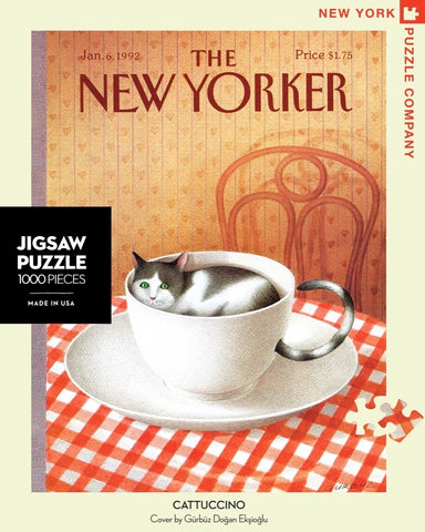 New York Puzzle Companys 1,000 piece jigsaw puzzle of the New Yorker cover cattuccino. Made in the USA
