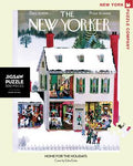 new york puzzle companys 500 piece jigsaw puzzle of the new yorker cover home for the holidays. made in the usa