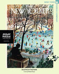 new york puzzle companys 750 piece jigsaw puzzle of the new yorker cover skating in the park. made in the usa