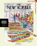 new york puzzle companys 750 piece jigsaw puzzle of the new yorker cover ski shop. made in the usa