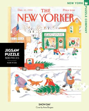 new york puzzle companys 500 piece jigsaw puzzle of the new yorker cover snow day. made in the usa