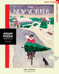 new york puzzle companys 1000 piece jigsaw puzzle of the new yorker cover tree shopping. made in the usa