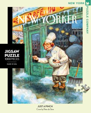 new york puzzle companys 1000 piece jigsaw puzzle of the new yorker cover just a pinch. made in the usa