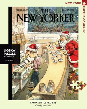 new york puzzle companys 1000 piece jigsaw puzzle of the new yorker cover santa's little helpers. made in the usa