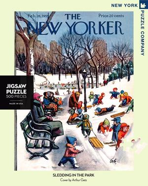 new york puzzle companys 500 piece jigsaw puzzle of the new yorker cover sledding in the park. made in the usa