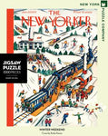 new york puzzle companys 1000 piece jigsaw puzzle of the new yorker cover winter weekend. made in the usa
