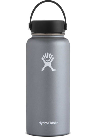 Hydro flask graphite 32 oz wide mouth bottle keeps liquids cold for up to 24 hours and hot up to 12. BPA-free