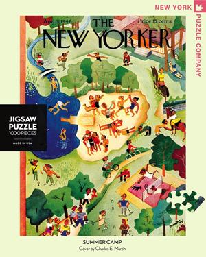 New York Puzzle Companys 1000 piece jigsaw puzzle of the New Yorker cover summer camp. Made in the USA