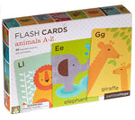 petit collage animals flash cards feature ABCs, words, graphic images. perfect for image recognition and alphabet learning