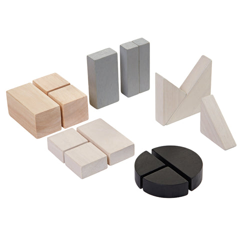 plan toys fraction blocks are 15 wood blocks to learn geometry, shapes, & fractions & build things by imagination