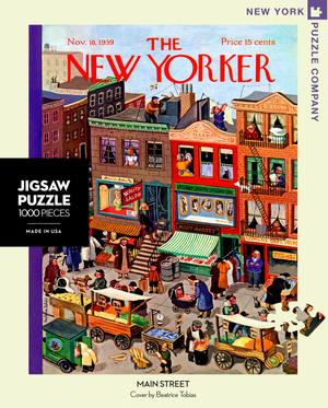 New York Puzzle Company's 1,000 piece jigsaw puzzle of the New Yorker cover Main Street. Made in the USA