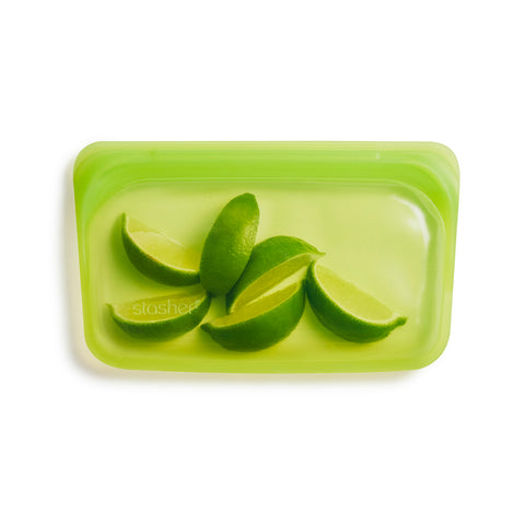 stasher reusable silicone snack bags, lime