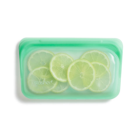 stasher reusable silicone snack bags, mint