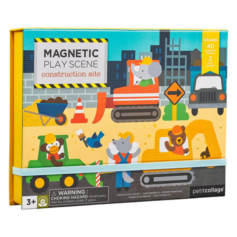 petit collage construction site magnetic play. 2 magnetic scene backgrounds & 40 magnetic pieces. ages 3 +
