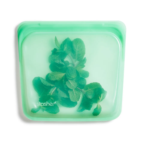 stasher reusable silicone sandwich bags, mint