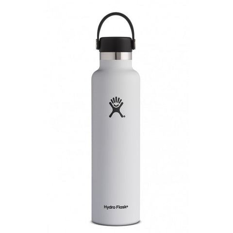 Hydro flask white 24 oz standard mouth bottle keeps liquids cold for up to 24 hours and hot up to 12. BPA-free