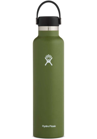 olive 24 oz standard mouth hydro flask bottle keeps liquids cold for up to 24 hours and hot up to 6. bpa-free