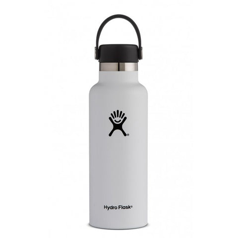 Hydro flask white 18 oz standard mouth bottle keeps liquids cold for up to 24 hours and hot up to 12. BPA-free