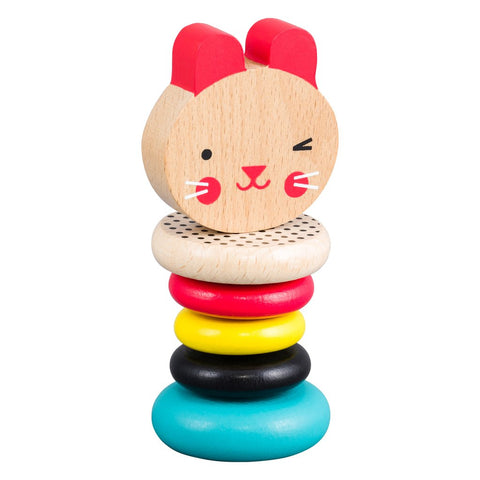 petit collage bunny wooden rattle for little hands to practice clutching & grasping. non-toxic water-based paints. ages 6m+