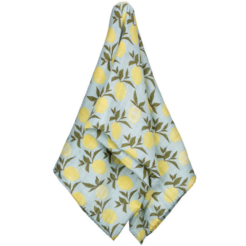 milkbarn lemon 100% GOTS certified organic cotton swaddle or baby blanket