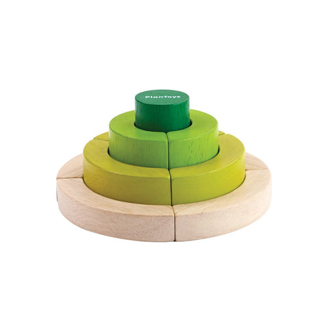 plan toys curve blocks 5382 teach children about ordering and comparing the height and the size of different circles