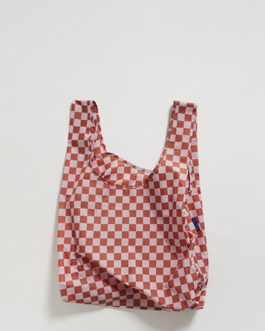 standard baggu rose checkerboard reusable shopping bag holds up to 50lbs. made from 40% recycled ripstop nylon